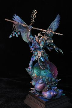 Tzeentch Demon Prince by Vincent Zhang (duskfrost) · Putty&Paint Thousand Sons, Warhammer Aos, Warhammer 40k Miniatures, Mini Paintings, Plastic Models, Mythical Creatures, Prince, Character Design, Minis