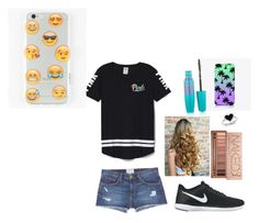 """""""Lazy day Outfit for school"""" by youngally1 on Polyvore featuring Victoria's Secret PINK, Current/Elliott, NIKE, Urban Decay, Kevin Jewelers, The Small Print., Ankit and Maybelline"""