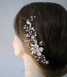 Bridal hair comb. Vintage style hair accessories. Bridal Head Piece, Bridal hairpiece. Pearl comb.Wedding hair accessories.. $49.95, via Etsy.