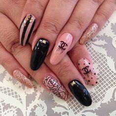 Nude and black nail art!