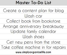 Master To-Do List is essential for doing a brain dump and clearing your head, try it now... Click here to see other lists that can make your life easier...
