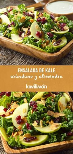 Ensalada de Kale, Arándano y Almendra Veggie Recipes, Salad Recipes, Vegetarian Recipes, Healthy Recipes, Cooking Recipes, Healthy Salads, Healthy Cooking, Healthy Eating, Love Food