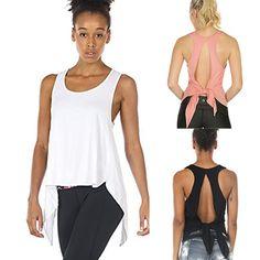 Women Sexy Yoga Tops Racerback Tank Top Sport Backless Sleeveless Blouse