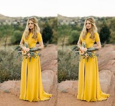 2020 Vintage Yellow Country Bridesmaids Dresses Middler Slit With Sleeves Long Evening Party Prom Formal Party Dress Cheap Custom Made Bridesmaid Wedding Dresses Bridesmaides Dresses From Stunningdress88, $61.81| DHgate.Com Country Bridesmaid Dresses, Wedding Bridesmaids, Wedding Dresses, Maid Of Honour Dresses, Maid Of Honor, Cheap Party Dresses, Formal Cocktail Dress, Dress Robes, Formal Prom