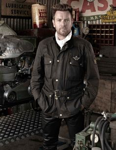 Ewan McGregor at Goodwood Revival #Belstaff #Motorcycle Jacket. Available at www.BritishMotorcycleGear.com