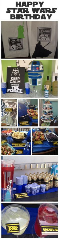 Star Wars Themed Birthday Party Inspiration from EatDrinkEat.com - I'm dying over the Vader-ade and Yoda Soda! So cute!