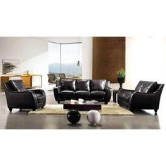 Divani Casa Full Leather Bremen Black Sofa Set