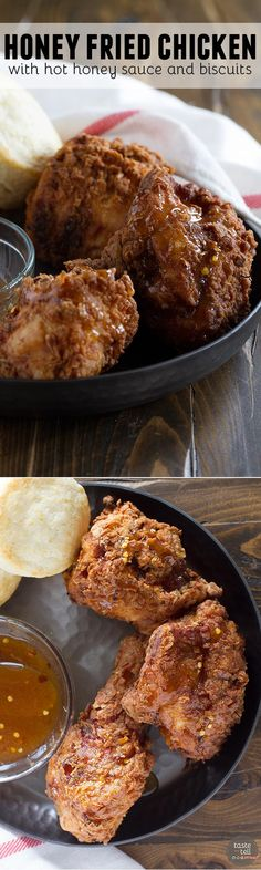 Get ready to have your mind blown - this Honey Fried Chicken with Hot Honey Sauce and Biscuits just may be the moistest, most delicious fried chicken recipe you've ever had. Served up with buttermilk biscuits and a sweet and spice Hot Honey Sauce, this is one recipe that is sure to impress.: Honey Fried Chicken, Fried Chicken Recipes, Honey Recipes, Great Recipes, Favorite Recipes, Easy Recipes, Turkey Dishes, Turkey Recipes, Honey Sauce