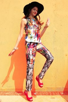 /Fashion-Feather-Print-Trousers