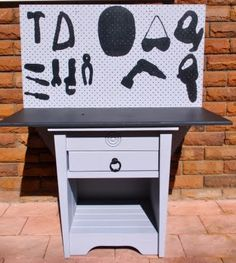 Bedside Table Repurposed into Toy Tool Work Bench (by Giggleberry Creations!). Love the painted silhouettes to help keep things organized.