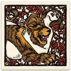 "Her love has been transformed into a Lion!  Tam Lin, my illustration of the english folk song, done for Anaïs Mitchell and Jefferson Hamer's new record, ""Child Ballads.""  #linocut #woodcut #printmaking"