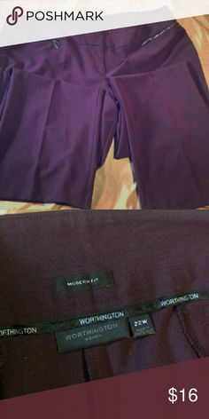 """Worthington Trousers Burgundy dress pants, Worthington- Modern Fit. Fits in the waist form fitting and moderately 'hangs/flows' from hips. They photograph as a purple, but they are a plum/burgundy color. Reposh as they're too long for me. I'm 5'6"""" and they'd be better suited for someone that is 5'8"""" ish. Zipper pockets. Very chic pants. 22w Worthington Pants Trousers"""