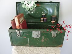 Vintage Metal Tool Box Industrial Chic Display by Old Tool Boxes, Metal Tool Box, Vintage Office, Vintage Decor, Fishing Box, Tool Sheds, Old Tools, Diy Planters, Industrial Chic