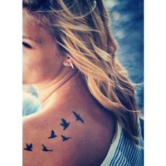 Little upper back tattoo of six flying birds. - Little Tattoos for Men... ❤ liked on Polyvore featuring men's fashion