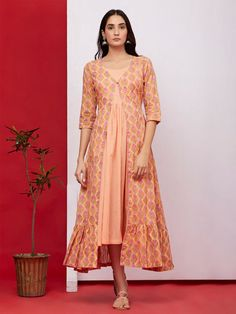Peach Pink Hand Block Printed Mulmul Jacket with Inner - Set of 2 Indian Attire, Indian Outfits, Cotton Dresses, Maxi Dresses, Indian Look, Jacket Pattern, Traditional Outfits, Dress Patterns, Dress Skirt