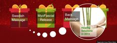 Swedish Massage, Myofascial Release, Back Massage all make perfect gifts for Christmas.   Get your Christmas Gift Cards Now  $100
