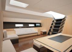 wally, magic carpet, racing sailboat interior