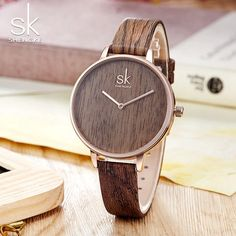 Shengke 2018 New Creative Women Watches Casual Fashion Wood Leather Watch Simple Female Quartz Wristwatch Relogio Feminino Outfit Accessories From Touchy Style. Cheap Watches, Stylish Watches, Casual Watches, Women's Watches, Gypsy Jewelry, Fashion Watches, Quartz, Leather, Casual Jeans