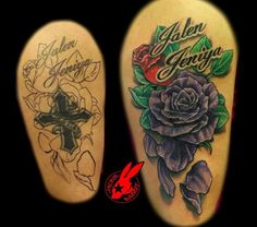 Purple flower cover-up tattoo by jackie rabbit custom tatt coveruptats. Flower Cover Up Tattoos, Rose Tattoo Cover Up, Dark Roses Tattoo, Purple Rose Tattoos, Flower Tattoo Drawings, Flower Tattoo Foot, Small Flower Tattoos, Flower Tattoo Shoulder, Egyptian Tattoo Sleeve