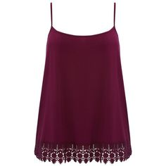 M&Co Plus Crochet Hem Cami Top (205 MXN) ❤ liked on Polyvore featuring plus size fashion, plus size clothing, plus size tops, tops, shirts, tank tops, blusas, plus size, berry red and plus size summer tops