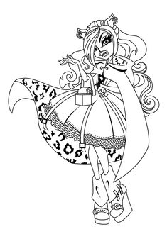 Clawdeen Wolf Monster High Coloring Pages For Kids, Printable Free