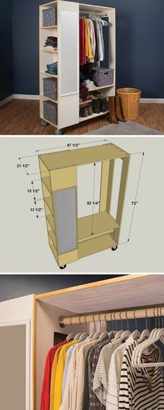 How to Build a DIY Freestanding Closet System | Free project plans on buildsomething.com | Closets are kind of like potato chips. No matter how many you have, it would always be great to have just one more. Of course, finding space for another closet is challenging, if not impossible. That's why this freestanding closet is great. It provides an extra closet anywhere you need one.