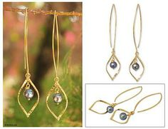Gold vermeil cultured pearl dangle earrings - Midnight Iridescence   NOVICA
