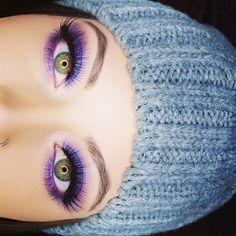Preview of the look I did today  @anastasiabeverlyhills Deep Purple eyeshadow with Purple Horseshoe from the Moonchild Glow Kit on top @anastasiabeverlyhills Dark Brown brow wiz @luxylash Bae lashes @thebalm_cosmetics Mad Lash mascara