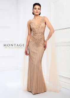 2f78213ba0a This Ivonne D Exclusively for Mon Cheri 218D30 dark champagne evening dress  features a V-