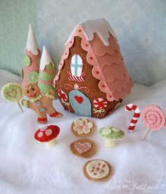 Adorable pattern for a complete pastel candy land gingerbread house, retail pattern, shown on the artist's blog: littledeartracks.blogspot