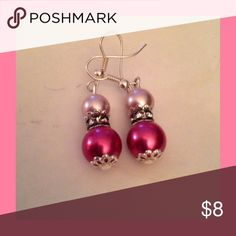 "Pink Pearl Earrings Sweet pink pearls in 2 different colors. On stainless steel ear hooks. 1"" long. Jewelry Earrings"