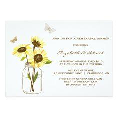 Sunflower Wedding Rehearsal Dinner Sunflowers Mason Jar Rehearsal Dinner Invitation