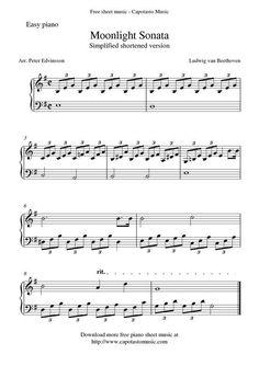 Free Sheet Music Scores: Free easy piano sheet music, Moonlight Sonata by Beethoven Free Piano Sheets, Easy Piano Sheet Music, Violin Sheet Music, Music Sheets, Classical Piano Music, Easy Piano Songs, Free Printable Sheet Music, Free Sheet Music, Accord Piano