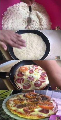 PIZZA EM 10 MINUTOS (DE FRIGIDEIRA) #pizza #receitadepizza #receitas #massa #pizzadefrigideira #pizzaem10minutos