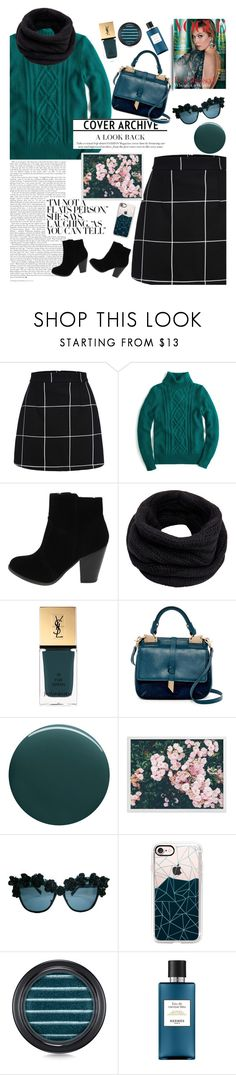 """""""Teal Me"""" by missnidy on Polyvore featuring J.Crew, Helmut Lang, Yves Saint Laurent, Foley + Corinna, Deborah Lippmann, Casetify, MAC Cosmetics, Hermès, Sweater and teal"""