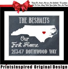 Housewarming Gift Personalized State Map Print by Printsinspired