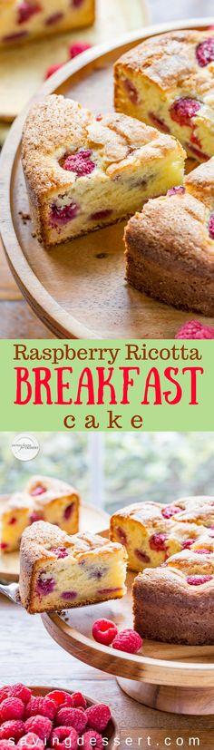 Raspberry Ricotta Breakfast Cake - A deliciously moist and fluffy, berry-streaked breakfast (coffee) cake perfect for dessert, breakfast, brunch, or afternoon tea. www.savingdessert.com #savingroomfordessert #raspberry #ricotta #breakfast #brunch #breakfastcake #coffeecake #raspberrycake #dessert #mothersday #easterbrunch