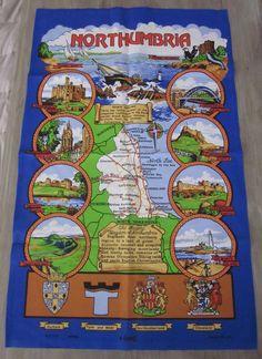 Northumbria England Tea Dish Towel New UK Castle Scenes Souvenir Map Cities Town