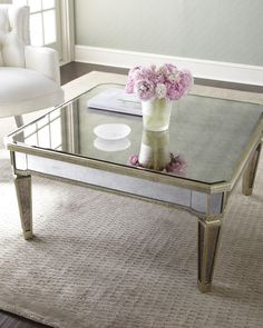 """""""Amelie"""" Mirrored Coffee Table (Frame is made of Asian hardwood w/silvery finish & golden accents; Covered in antiqued mirrored veneers) - GORGEOUS, OUI ! Mirrored Furniture, Accent Furniture, Living Room Furniture, Home Furniture, Living Room Decor, Hello Furniture, Furniture Design, Coffee Table Frame, Mirrored Coffee Tables"""
