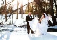 Winter Wedding Bride and Groom in the Snow