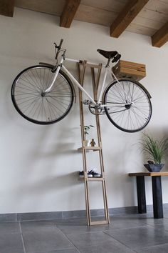 Given my soft spot for bike storage and multifunctional design, I was delighted to encounter BH - a beautiful bike stand by French designer Thibaut Malet. Bicycle Storage, Bicycle Rack, Diy Bike Rack, Bicycle Stand, Bicycle Wheel, Indoor Bike Rack, Indoor Bike Storage, Velo Design, Range Velo