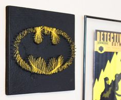 Batman String Art Wall hanging by halftonehandicrafts on Etsy, $35.00. I think we could make it ourselves.