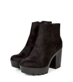 Slip on these Black Suedette Chunky Block Heel Ankle Boots with your favourite pair of skinny jeans.