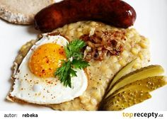 Hrachová kaše s cibulkou recept - TopRecepty.cz Czech Recipes, Ethnic Recipes, Food Videos, Hummus, Real Food Recipes, Risotto, Sausage, Pork, Food And Drink