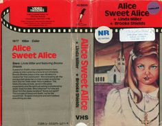 VHS cover for Alice Sweet Alice, classic 70s horror featuring the first film appearance of Brook Shields.