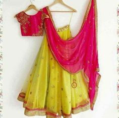 Haldi Ceremony Yellow Lehenga Choli With Handwork Half Saree Designs, Choli Designs, Lehenga Designs, Blouse Designs, Blouse Patterns, Half Saree Lehenga, Indian Lehenga, Sari, Bridal Lehenga