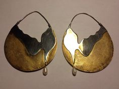 vintage sterling + freshwater pearl hoop earrings