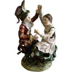 """Ernst Bohne Sohne/Volkstedt Germany Porcelain Figurine """"Soldier & Maiden Dancing"""""""