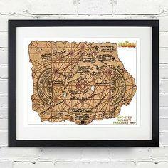 The Goonies Movie Replica Prop Framed Pirate Treasure Map Truffle Shuffle Gift