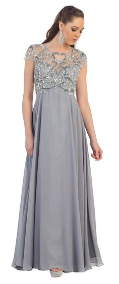 Fancy Long Short Sleeve Rhinestone Chiffon Mother of the Bride Dress Plus Size #ThedressoutleT #Formal